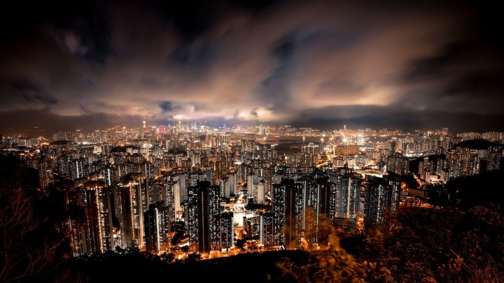 Amazing Hong Kong At Night With Clouds All Over The City