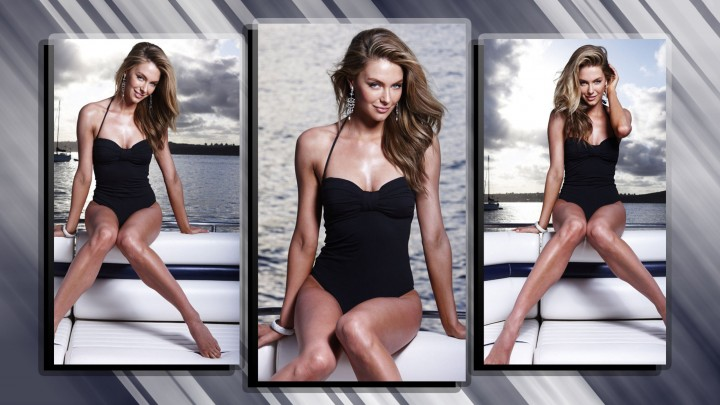 Jennifer Hawkins In Black Swim Wear Different Poses In One Photo