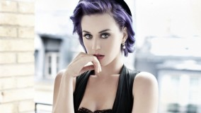 Katy Perry In Black Dress Serious Look Colourful Hairs