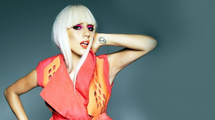 Lady Gaga In Red Designer Dress White Hairs Making A Hot Pose