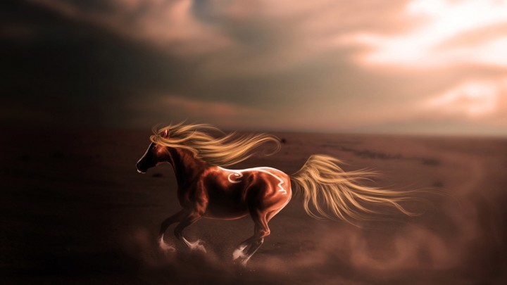Majestic Horse Running In The Desert