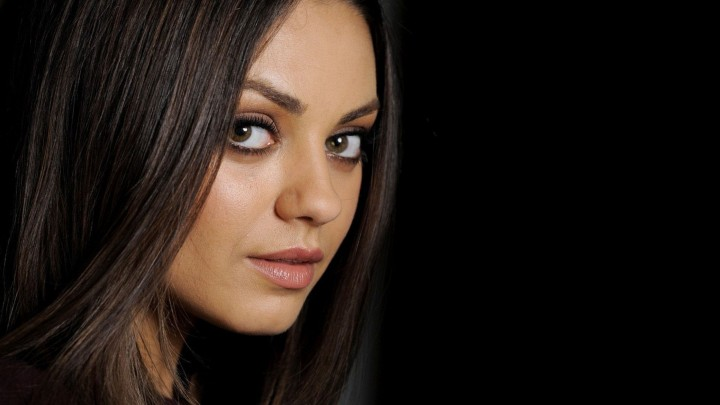 Mila Kunis Face Closeup Black Hair Pink Lips