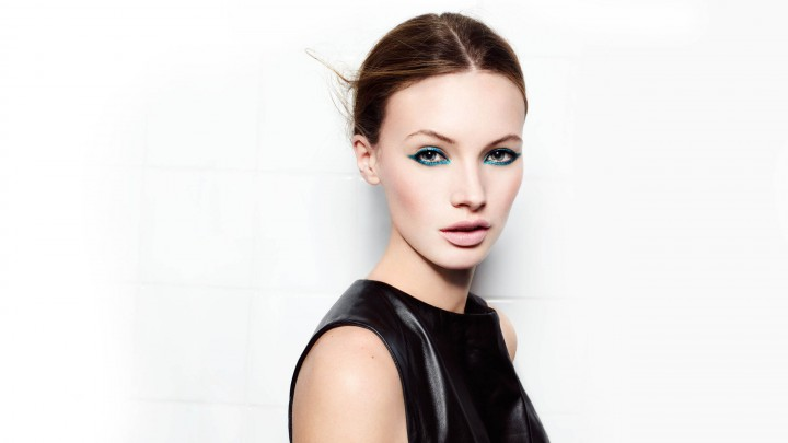 Mona Johannesson In Black Dress Green Eye Shadows