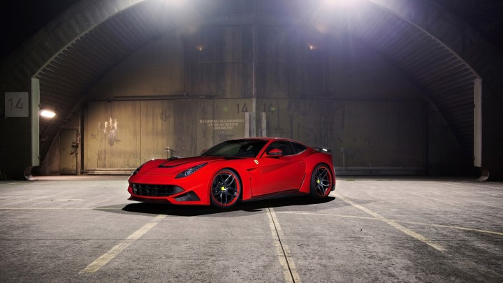 Red Novitec Rosso Ferrari F12 Berlinette Side Pose