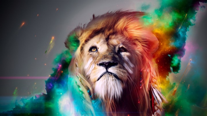 A Beautiful Multicolor Lion