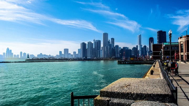 A Beautiful View Of Chicago And Michigan Lake