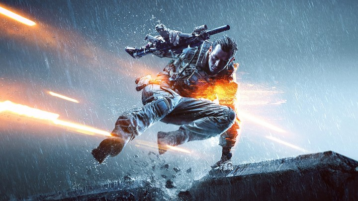 A Soldier Jumping With Gun In Hand In Battlefield 4