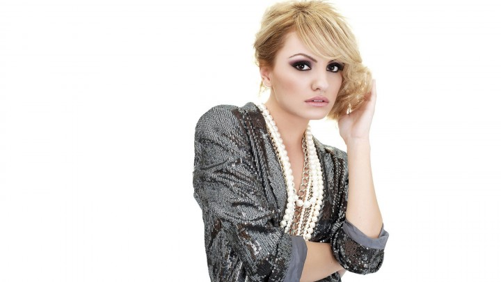 Alexandra Stan In Shiny Grey Dress Wearing Pearl Necklace