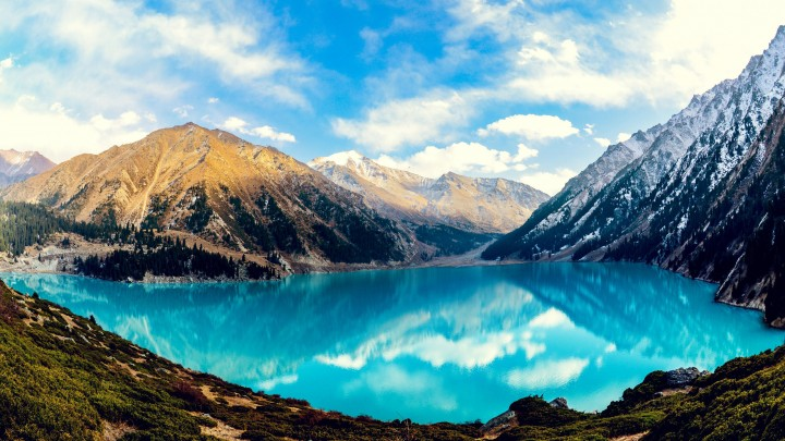 Beautiful Almaty Lake Between The Mountains