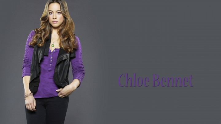 Chloe Bennet In Purple Top Black Jacket & Black Jeans
