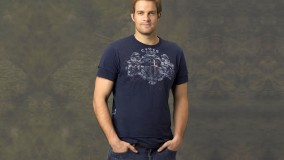 Geoff Stults In Dark Blue T-Shirt Hands In Pockets