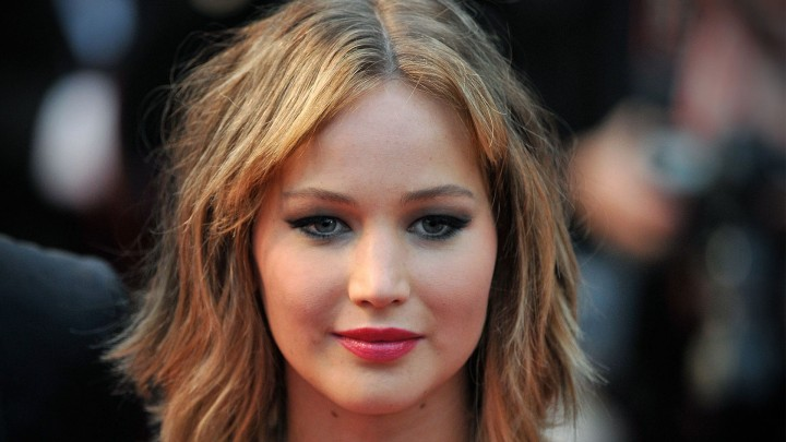 Jennifer Lawrence Face Closeup Red Lips
