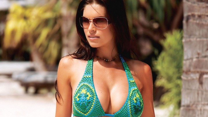 Kim Smith Wearing Green Bikini And Sunglasses
