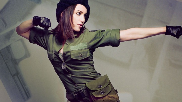 Madonna In Soldier Dress Making A Fighting Pose