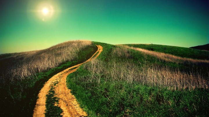 Uphill Road Through Greem Grass