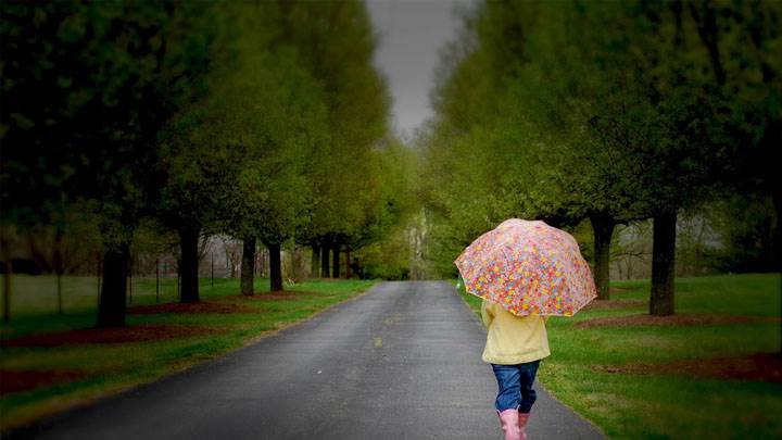Kid Going To School With Umbrella